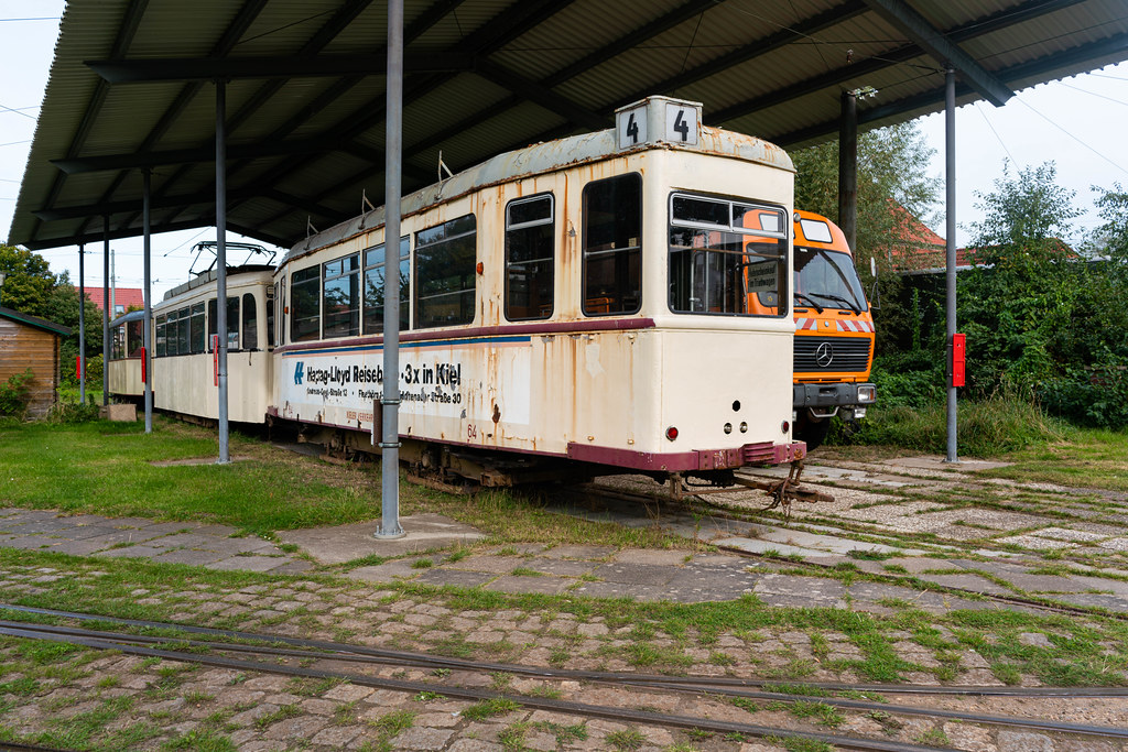 Old German tram at the station