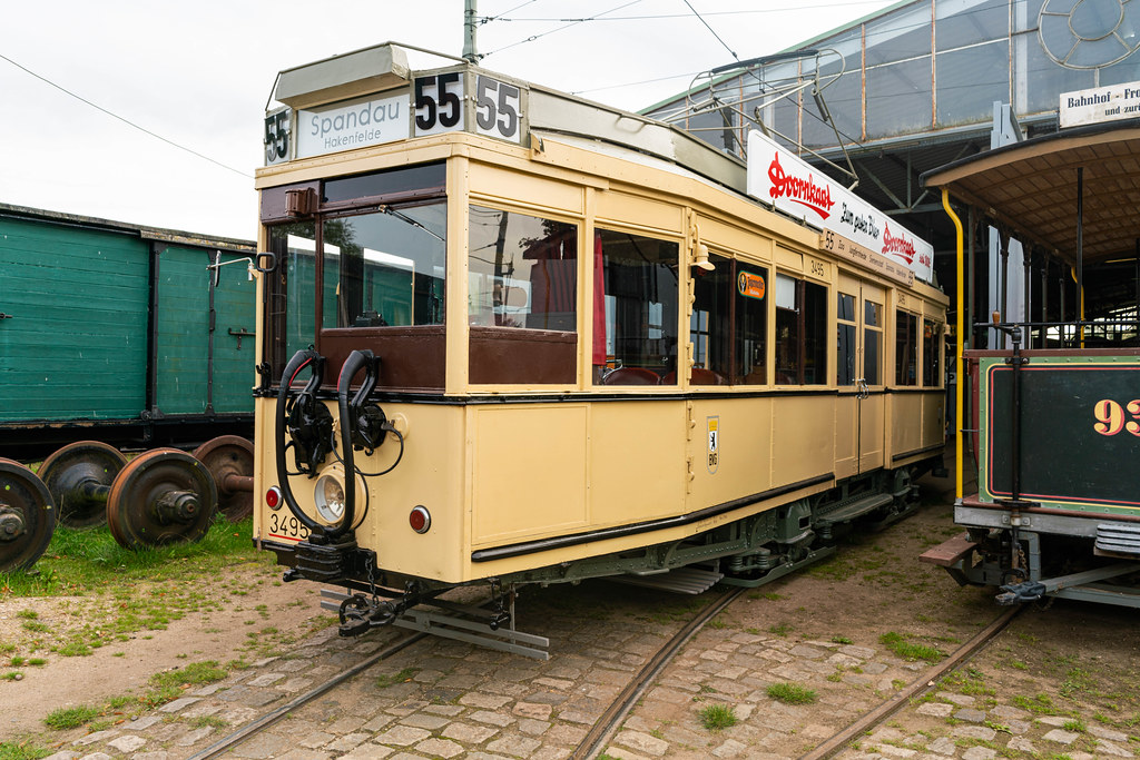 Old Berlin streetcar on route 55 kept in perfect condition