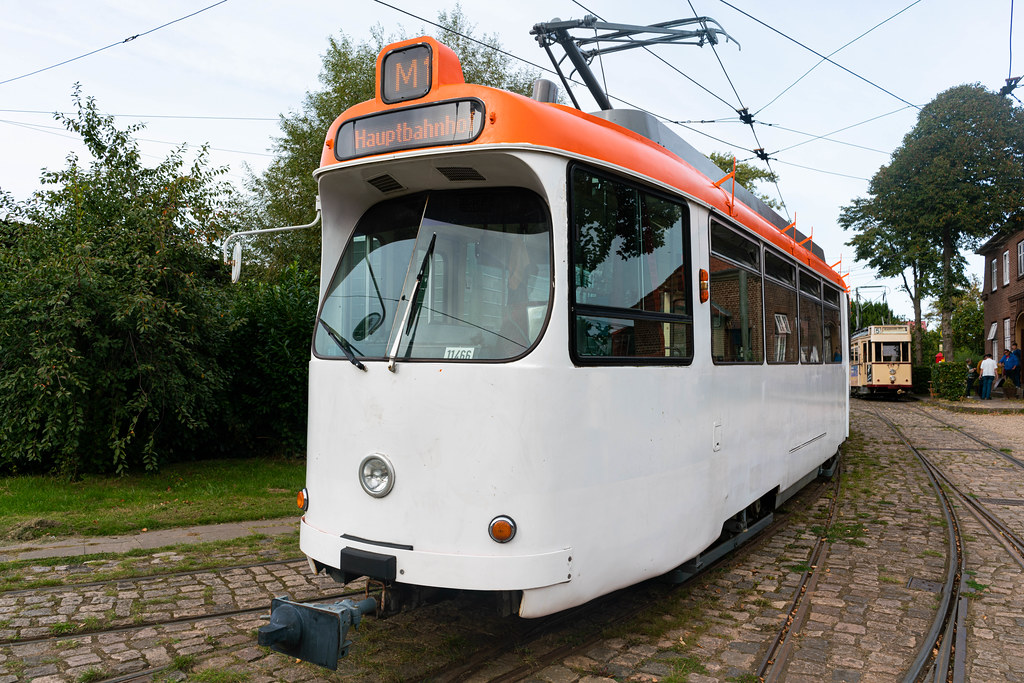 Close up of retro German trolley still running on the route today
