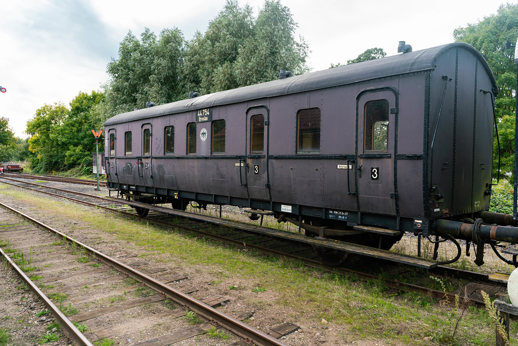 Old black German Reich train carriage with a Breslau destination sign