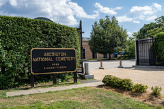 Arlington, VA - August 8, 2019: Welcome sign at the gate of Arlington National Cemetary located just outside of Washington DC