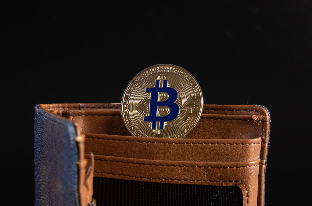 Open wallet with golden Bitcoin coin on black background
