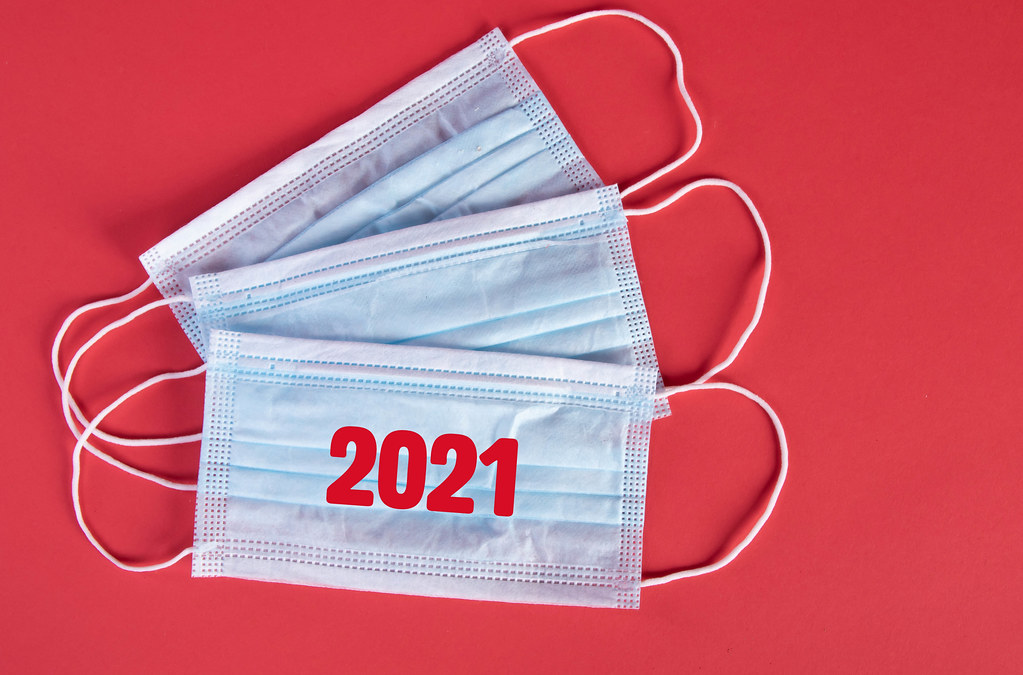 Medical protective face masks with red 2021 text