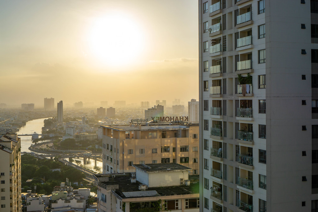 Sunset Photo of Saigon River and District 5 at Golden Hour in Ho Chi Minh City, Vietnam