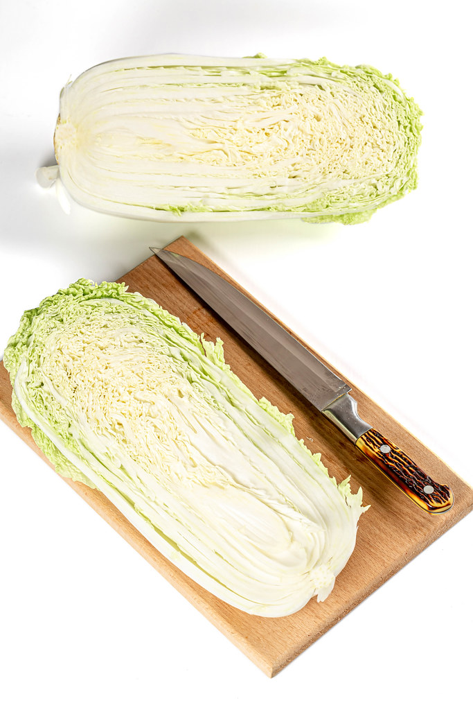 Peking cabbage halves, top view