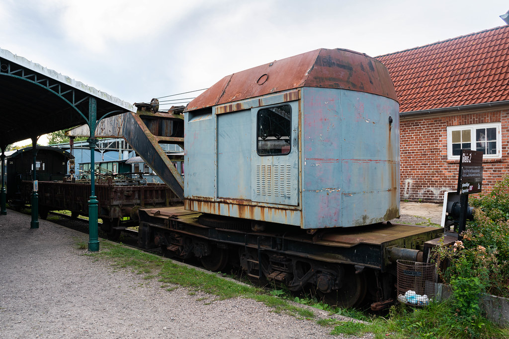 Old German Railroad crane at the exhibition in the retro museum