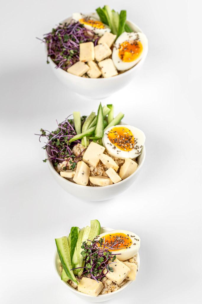 Three bowls of healthy food