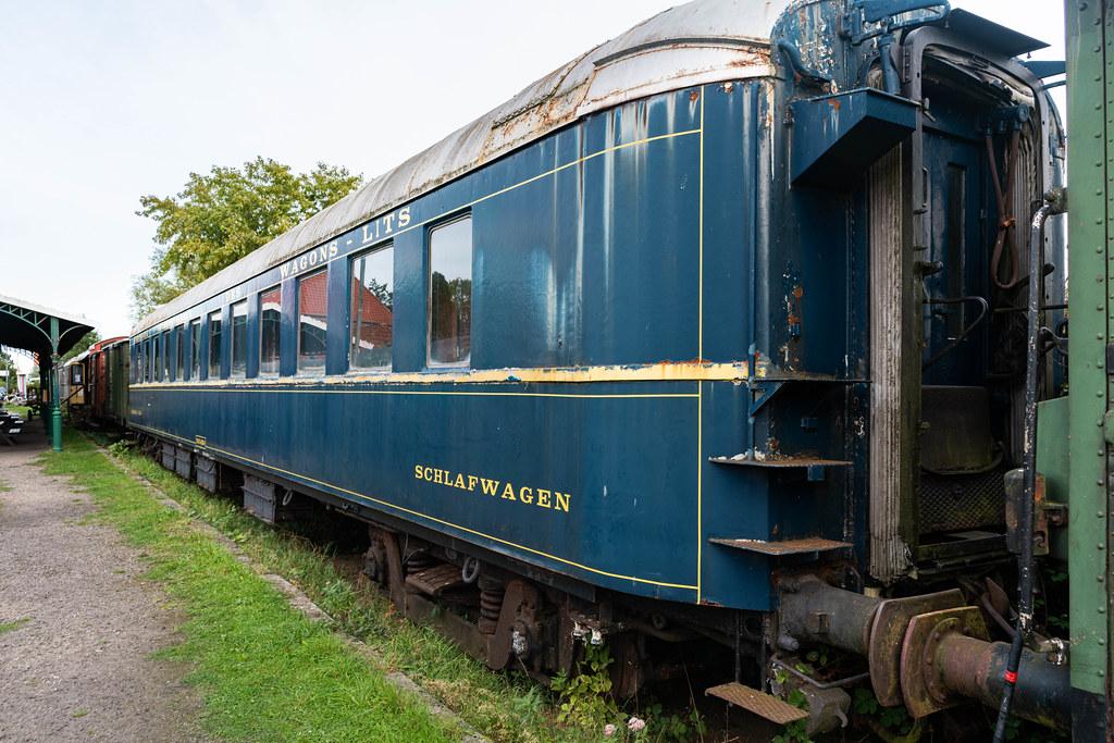 Blue retro sleeping car of German railways (Deutsche Bahn)