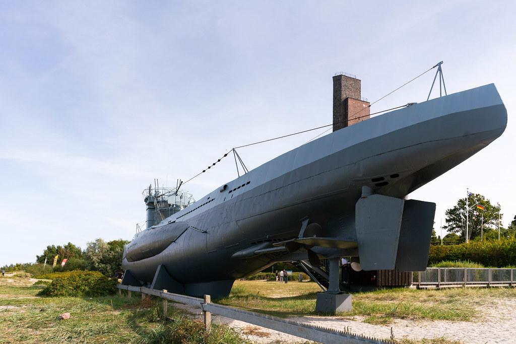 German U-boat on display at the beach in resort German town