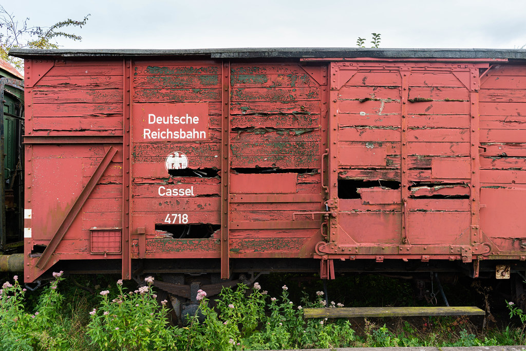 Old wooden red freight car of German railways
