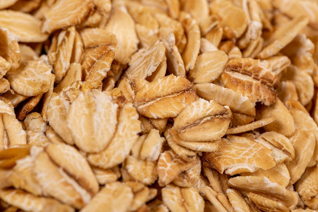 Raw oatmeal flakes close up