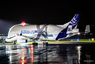 Beluga XL F-GXLI arriving at night in Nantes