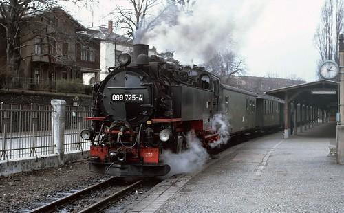 750mm gauge 2-10-2T no. 099 725 at Zittau. 1992.