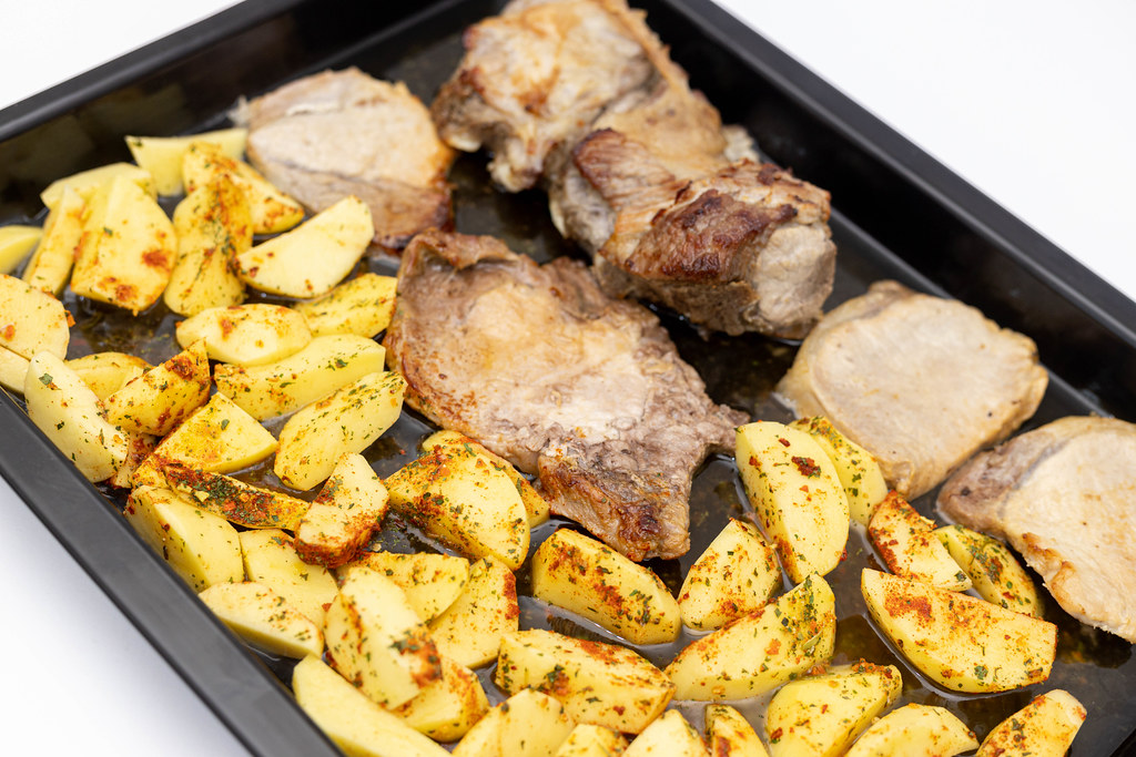 Baked Pork Ribs and Chops with Potatoes