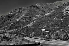 Mountainsides and a Drive Along the Provo Canyon Scenic Byway (Black & White)