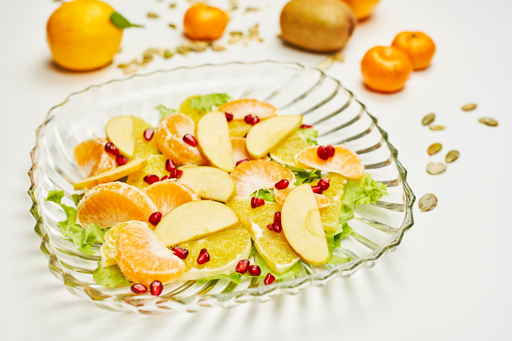 Sliced and peeled organic fruits for healthy snack