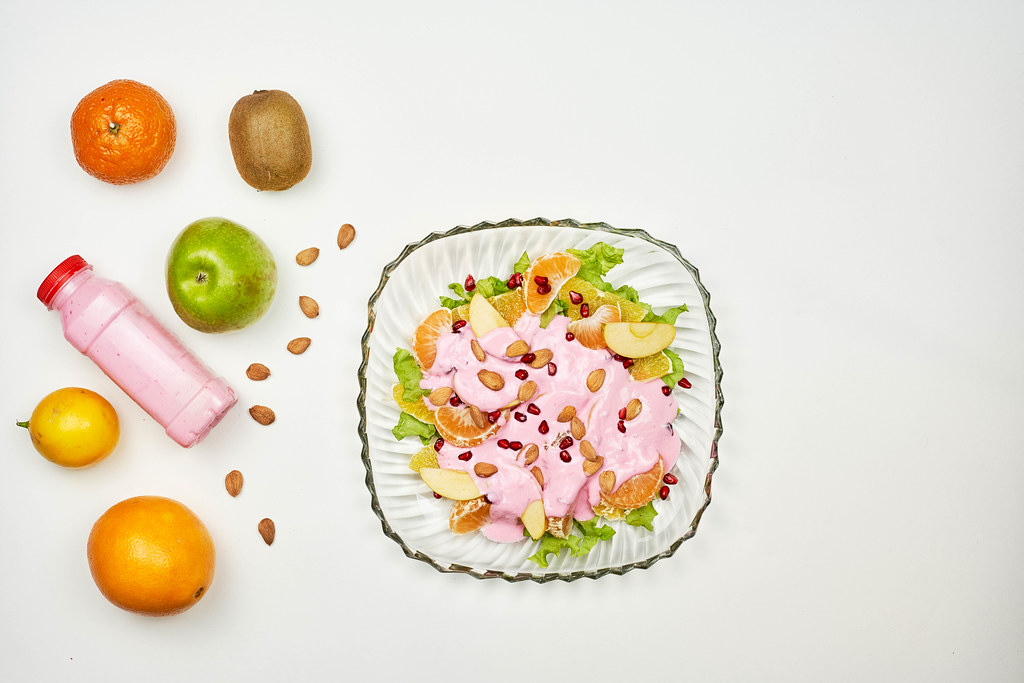 Fruit salad with ripe ingredients