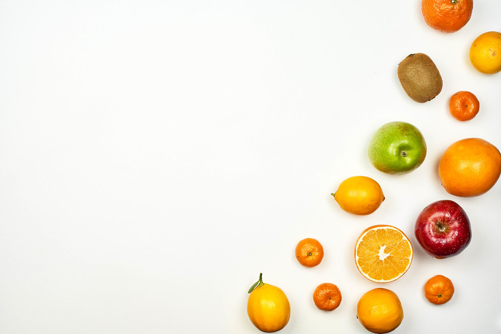 Tropical fruits background with copy space