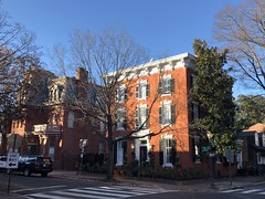 Brick house catches the sun, N and 34th streets, Georgetown, Washington, D.C.