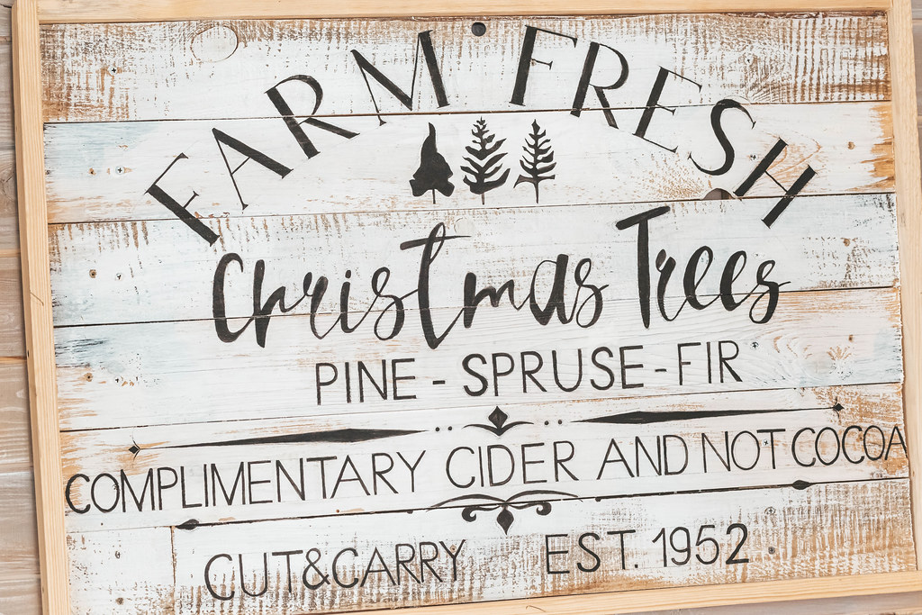 Wooden signboard farm fresh christmas trees