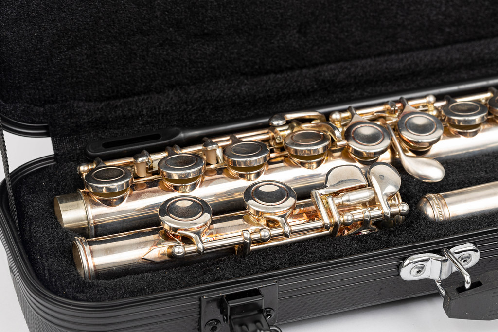 Closeup image of Metal Flute packed in the bag