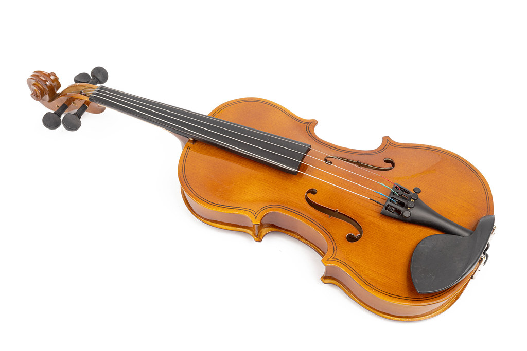 Wooden Violin isolated above white background