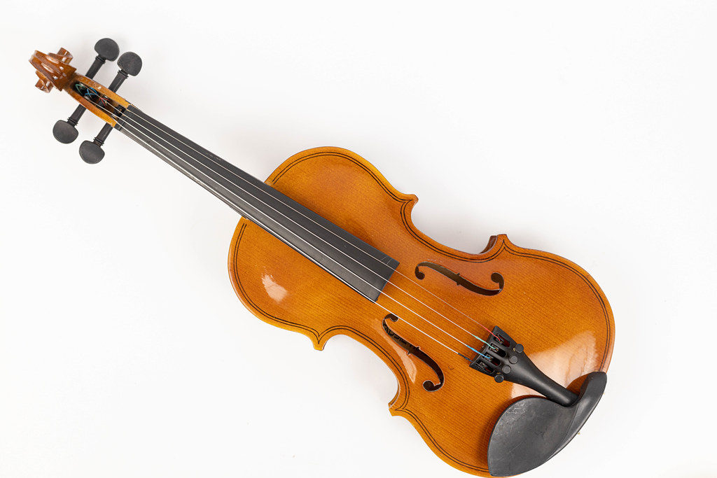 Violin isolated above white background with copy space