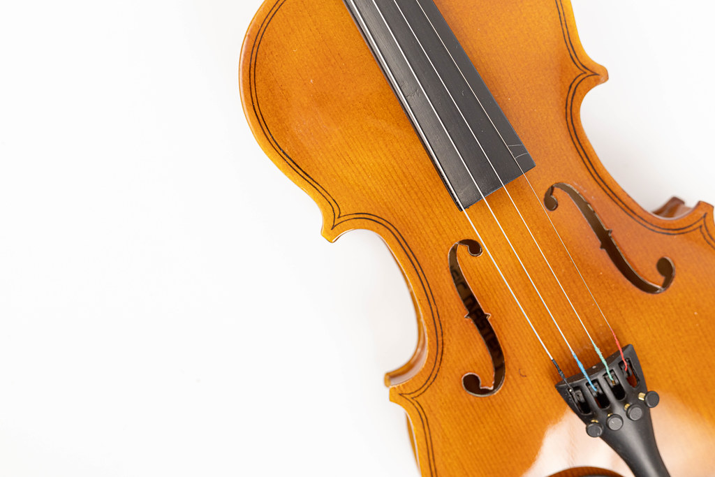 F holes on the Violin above white background with copy space
