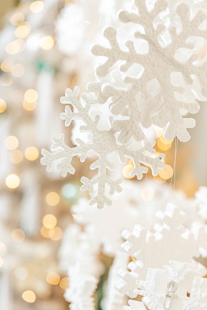 Decor white snowflakes on golden bokeh background