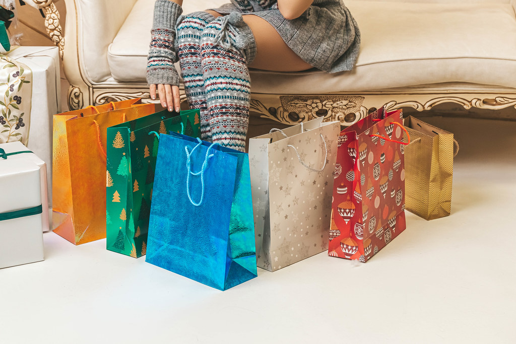 Christmas mood, preparing gifts and surprises for loved ones, shopping concept