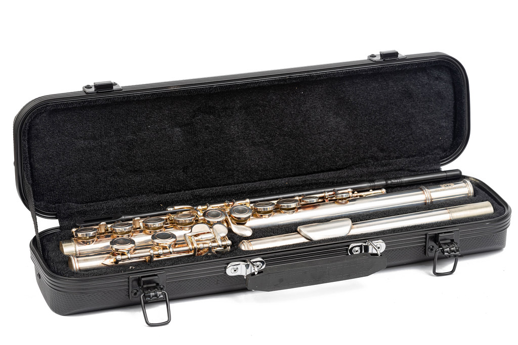 Metal Flute packed in the black case