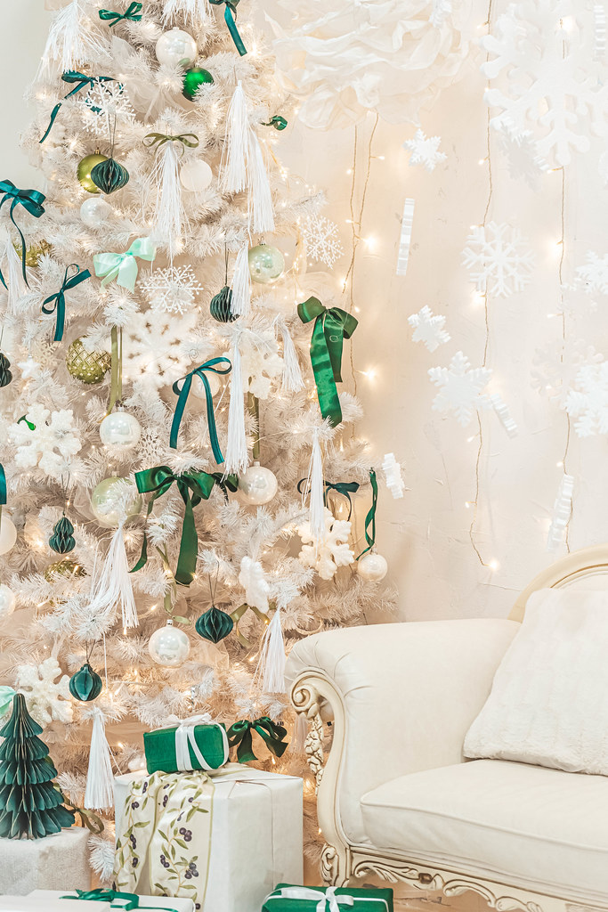 White decorated christmas tree with gifts