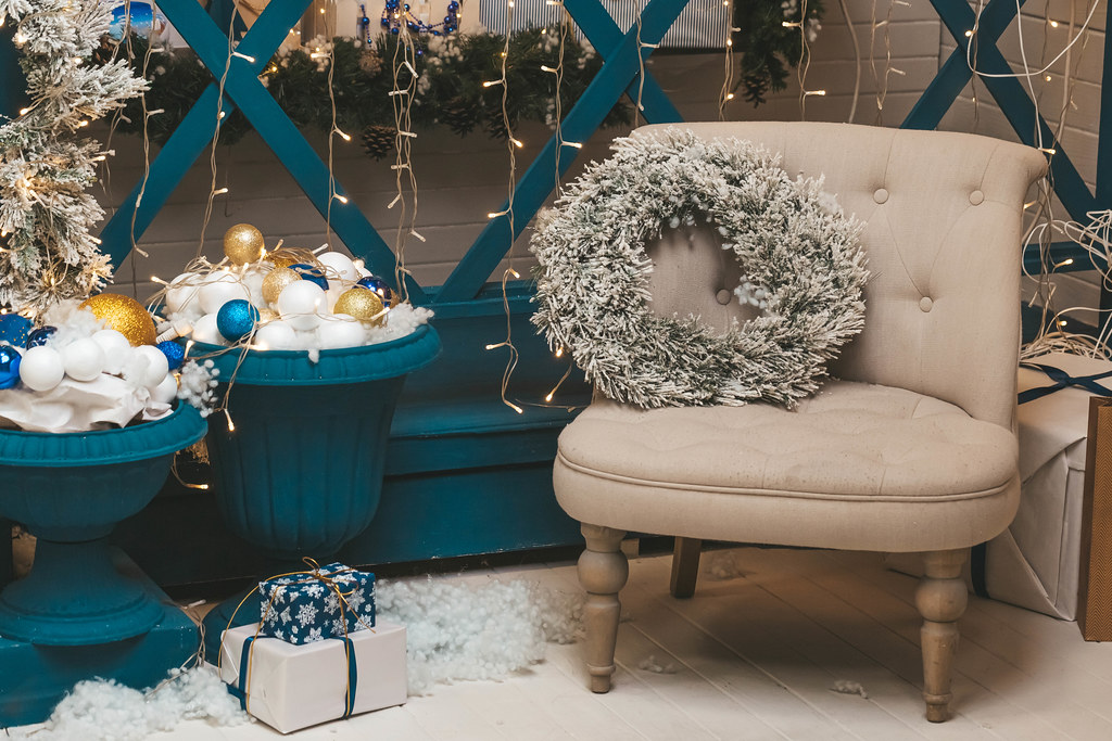 Armchair with a wreath in a christmas interior