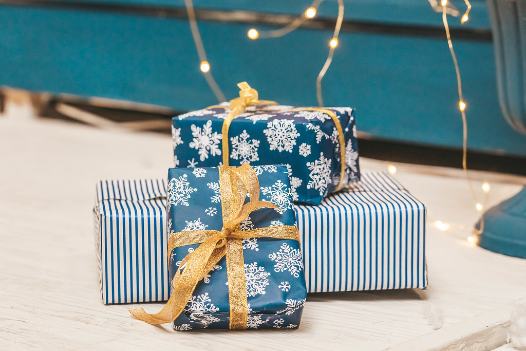 Three gift boxes on the floor