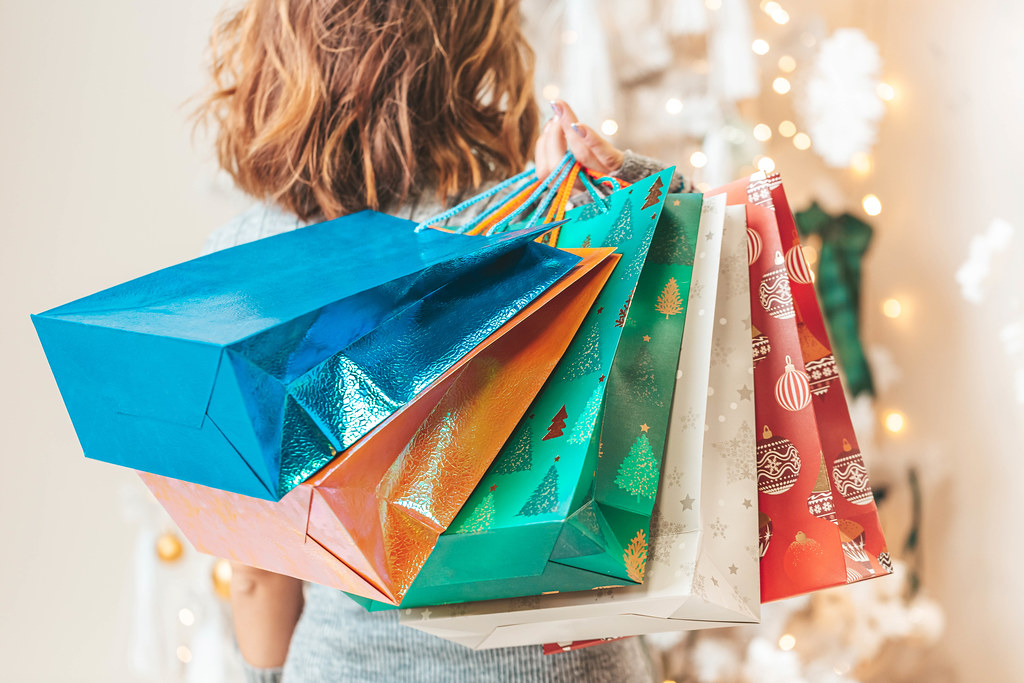 Christmas holiday time gift shopping concept