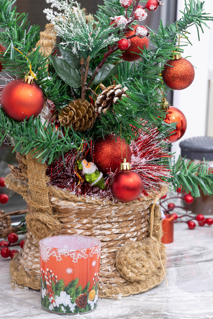 Christmas Decoration tree with red balls and Christmas candle