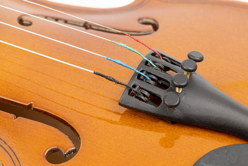 Closeup of Violin Tailpiece on the Violin
