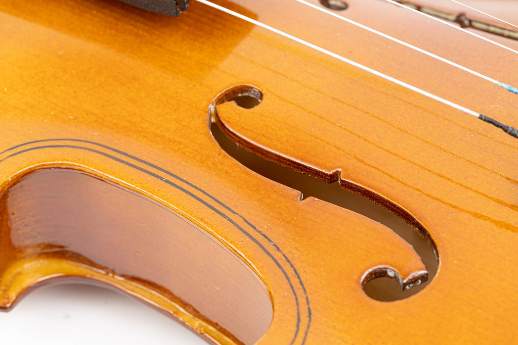 F holes on the wooden Violin