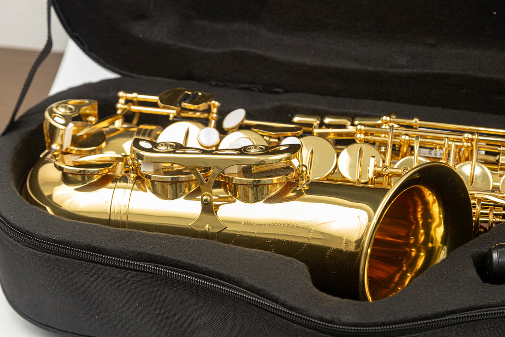 Saxophone in the black case