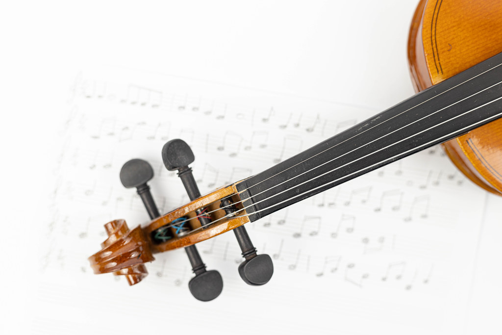 Wooden Violin Neck with Notes on the sheet music and copy space