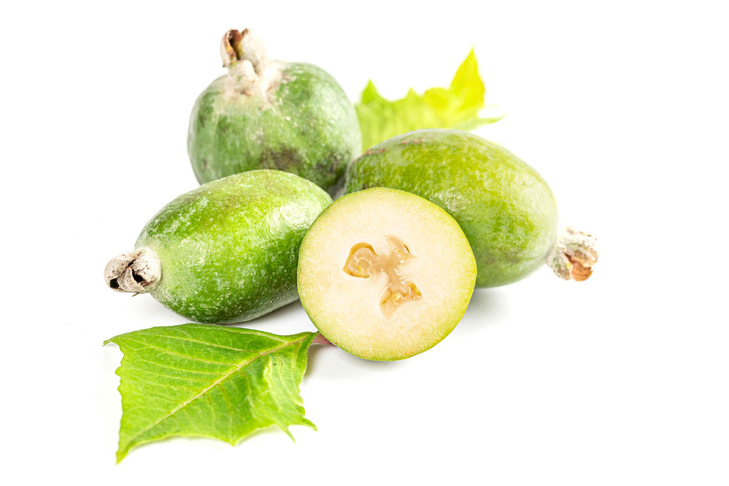 Fresh ripe feijoa fruits with leaves
