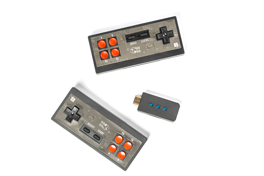 Two joysticks and HDMI device, top view