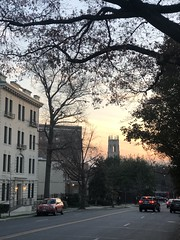 Florida Avenue NW at sunset, view to Church of the Pilgrims, Dupont Circle, Washington, D.C.