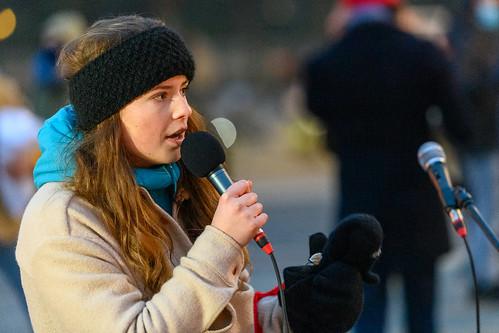 Luisa Neubauer speaks at the #FightFor1Point5 rally at the Brandenburg Gate