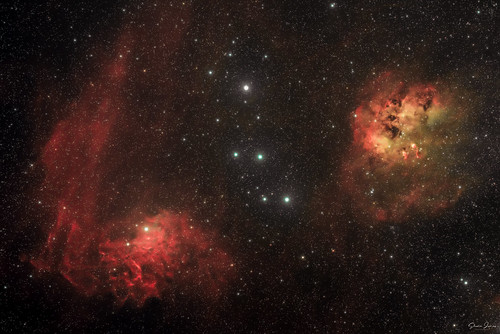 Flaming star and Tadpoles Nebulae