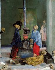James Ensor, Sich wärmende Skelette - Skeletons warming themselves