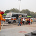 New Delhi, India - January 4, 2020: Bomb squad police vehicle parked outside of a Delhi Metro Station as people walk by