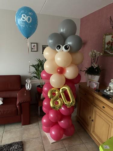 Ballonpilaar Breed Verjaardag 80 Jaar
