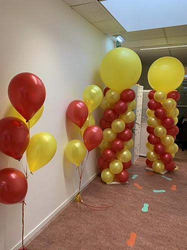 Tafeldecoratie 5ballonnen Ballonpilaar Breed Rond Kinderdagverblijf Noach Capelle aan den IJssel