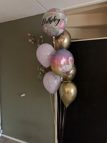 Ballonboeket Verjaardag Chrome Goud